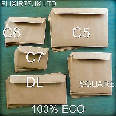 C5 C6 C7 Dl Square Kraft Brown Eco 100% Recycled Envelopes Crafts Cards Weddings