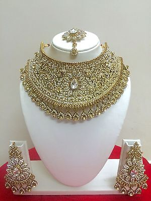 Indian Bollywood Style Gold Plated Fashion Bridal Jewelry Necklace Set