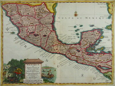 Mexico Central America Engraved Colored Map 1720 Van Der Aa I72