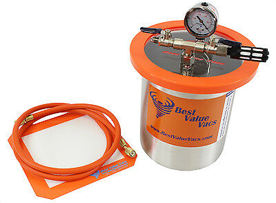 Best Value Vacs 1 Gallon Tall Stainless Steel Vacuum and Degassing Chamber