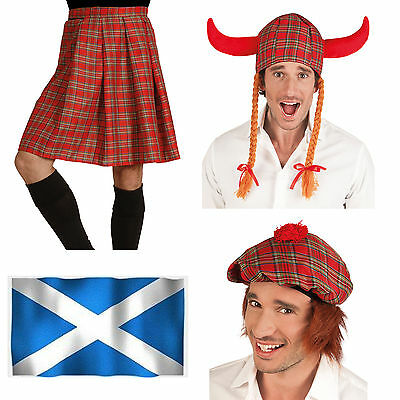 Fancy Dress Scottist Kilt Viking Tartan Hat Scotsman Cup With Hair Party Item