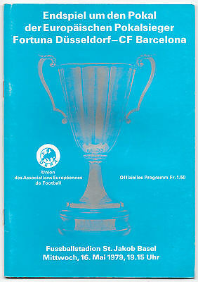 1979 - Fortuna Dusseldorf v Barcelona, Cup Winners Cup Final Match Programme.