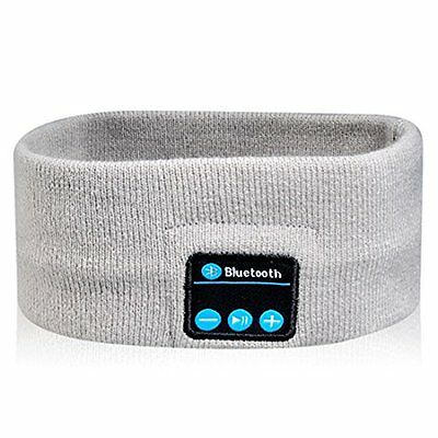 Wireless Bluetooth Headset Portable Rechargeable Sport Knitted Headband - Gray