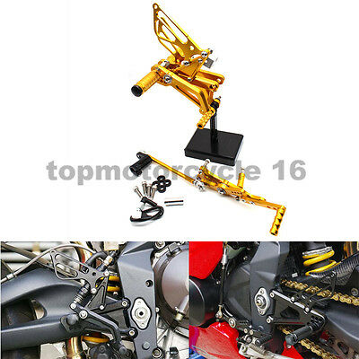 Adjustable Gold CNC Footpegs Rearsets Set For Triumph Daytona 675 06-12 2011 08