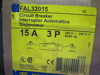 Square D FAL32015 15 AMP 3 POLE Circuit Breaker  Grey Label  NEW