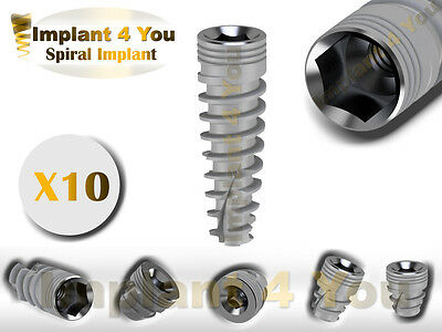 10X Dental Titanium Spiral Implant Sterile Sterilized For Internal Hex Lab