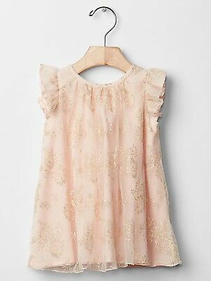 GAP Baby Girl Size 0-3 Months NWT Pink / Gold Metallic Lace Flutter Party Dress