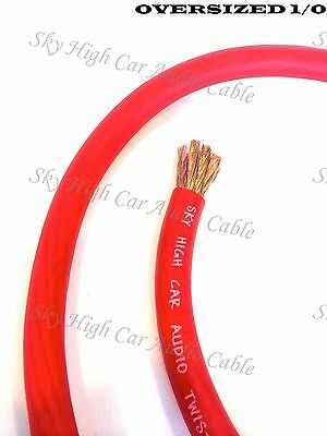 50 ft 1/0 Gauge Oversized AWG RED Power Ground Wire W/ SPOOL Sky High Car Audio