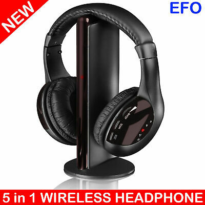 5 in 1 WIRELESS MULTIMEDIA HEADSET w/ MICROPHONE FM RADIO MONITORING headphones