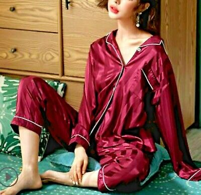 febf1f16764f Gift Womens Satin Silk Pajama Set Kimono Robe Multi-color Silkpeace Pants  Gown