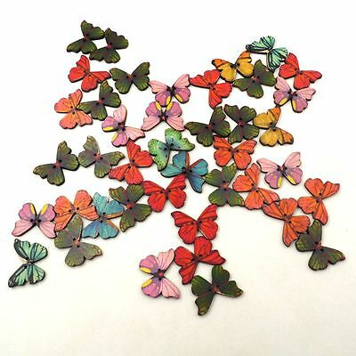 50X2Holes Mixed Butterfly Shape Wooden Sewing Mend Scrapbooking DIY Button