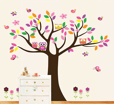 Large Tree Owls Butterfly Lovely Wall Sticker Art Vinyl Decals Kids Room Decor