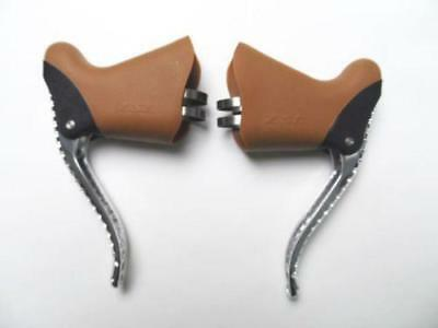 Starry lever with drilled holes Vintage Aero Brake set Silver Blade Brown Hoods