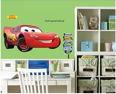 Racing Cars McQueen Window Wall Decals Sticker Vinyl Mural Kids - Lightning mcqueen custom vinyl decals for car