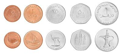 United Arab Emirates - UAE 5 Fils-1 Dirham 5 Pieces -PCS Coin Set,1996-2011,Mint