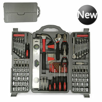 127 Pcs Essential Tool Kit Set-Socket Pliers Screwdriver Drill Bit Hex Allen Key