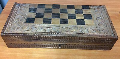 Vintage Hand Carved Wooden Chess Set 48X46 - 100% Complete