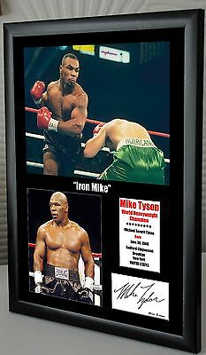 "Mike Tyson ""Iron Mike"" Framed Canvas Print Signed ""Great Gift & Souvenir"""