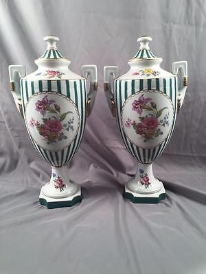 Vintage Large Pair Hand Painted Victorian Sevres Styled Floral & Strip Urns