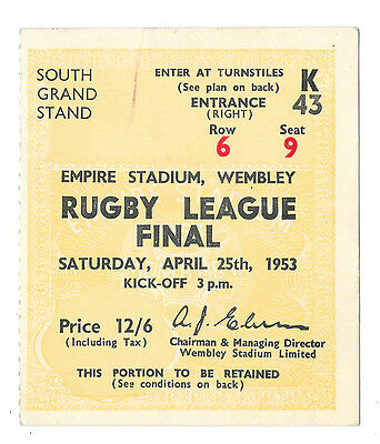 1953  - Huddersfield v St Helens, Challenge Cup Final Match Ticket.