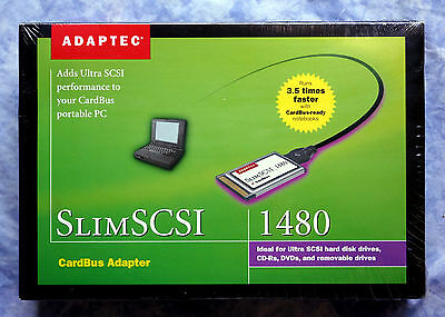 sealed Adaptec SlimSCSI 1480 CardBus SCSI Adapter PC Card 1480A KIT PCMCIA /3311