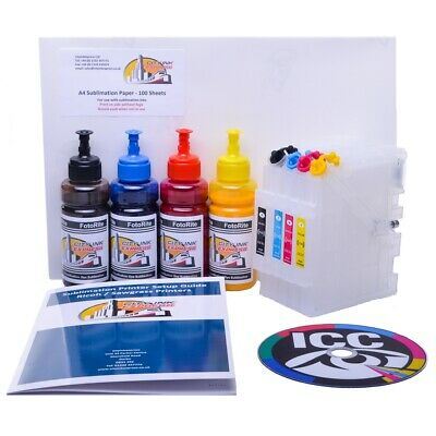 Dye Sublimation ink cartridge bundle Fits Ricoh GC21 GC31 GC41 FREE ICC Profile