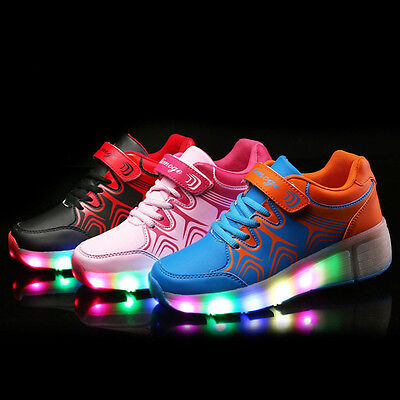 KIDS Girls Boys Heelies Heelys Wheelies SKATE ROLLER SHOES Light Up LED SHOE