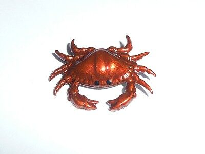 "Adorable Large Red Crab Metal Shank Button 1-1/8""x7/8"" Red Crab Button"