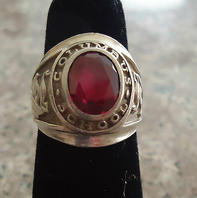 Sterling Silver Class Ring Columbus School 1969 Red Garnet Size 5.5 -  14g