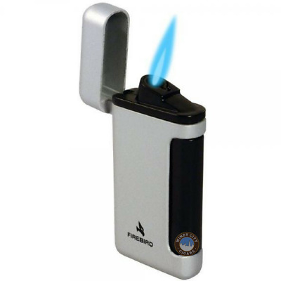 Firebird Sidewinder Butane Cigar Lighter - Single Torch - Silver - New