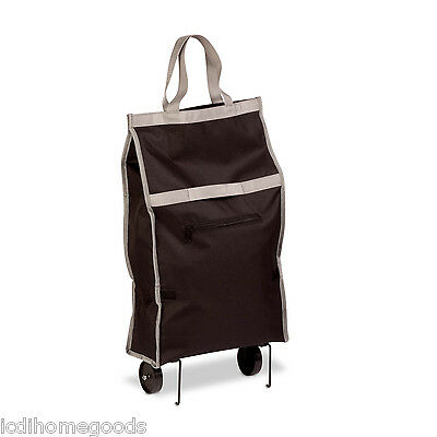 Rolling Fabric Fold up bag cart in black #CRT-02809