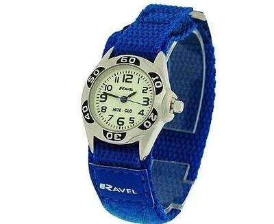 Ravel Boys Nite-Glo Quartz Luminous Dial & Royal Blue Velcro Watch R1704.16