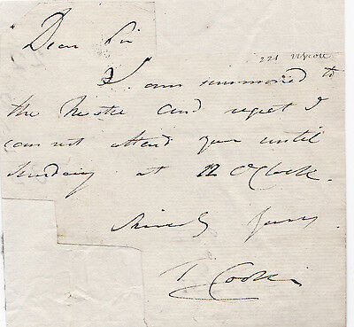 AUTOGRAPH NOTE SIGNED by Irish composer and singer THOMAS COOKE circa 1835