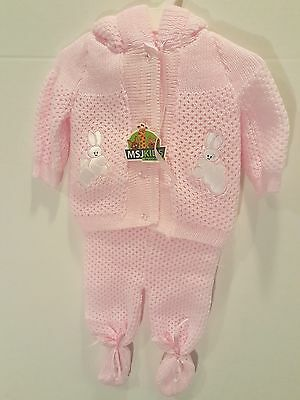 MSJ Kids New Born Hooded 2 Piece Knitted Set