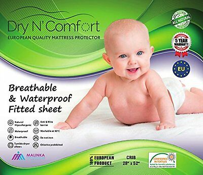 """White Terry Baby Crib Toddler Mattress Protector Pad Cover Crib Size 52"""" X 28"""" X"""