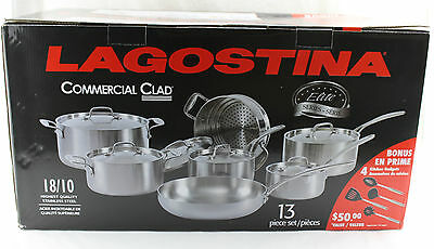 Lagostina Commercial Clad 13 Piece Cooking Set + BONUS, Stainless Steel NEW