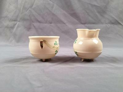 Vintage Belleek Shamrock Footed Cauldron Creamer Sugar 2nd Green Mark