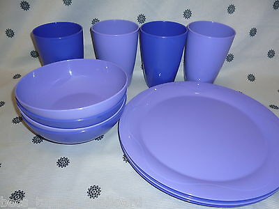 Tupperware Dining Set Plates Bowls Tumblers Purple NEW