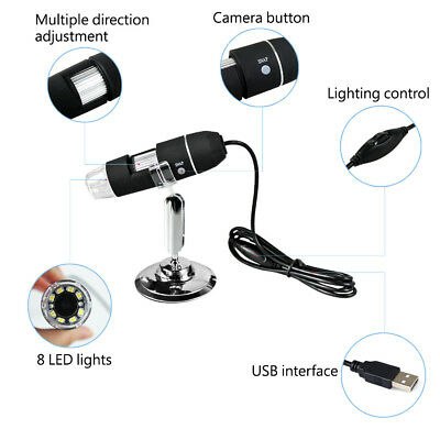 8LED 800X 1000X USB Digital Microscope Endoscope Magnifier Camera Stand 2MP US