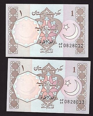 *** Pakistan 1983 (ND), 2 x Consenutive Serial Numbers, 1 Rupee, UNC++ ***