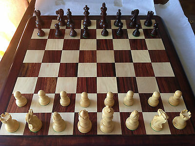 Chess Board Set: 46cm(18 inch) Flat board and 7cm Pieces BEAUTIFUL ROSEWOOD.