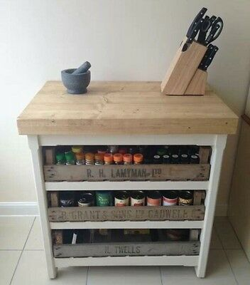 FLASH SALE Rustic Pine Freestanding Kitchen Island Handmade Butchers Block Unit