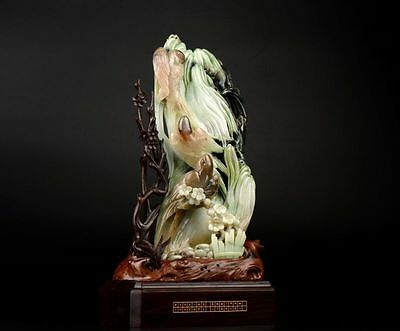 Very Fine Rare Chinese Natural Dushan Jade Carving Flowers & Bird Statue