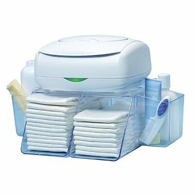 Nursery Diaper Wipes Organizer Baby Changing Station Side bins Roomy Compartment