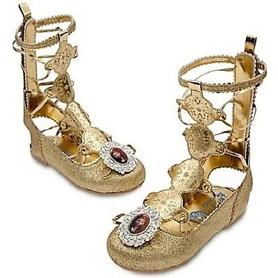 Disney Deluxe BRAVE Gold Sandals Shoes Girls 2/3 Princess Merida Sandals Youth
