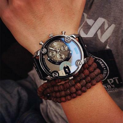 Military Luxury Automatic Mechanical Day Date Men's Leather Band Wrist Watch NEW