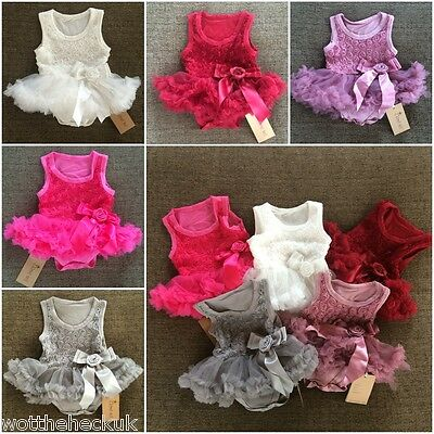 Baby Girls Girl Christmas Wedding Bridesmaid Christening Party Tutu Dress Rose