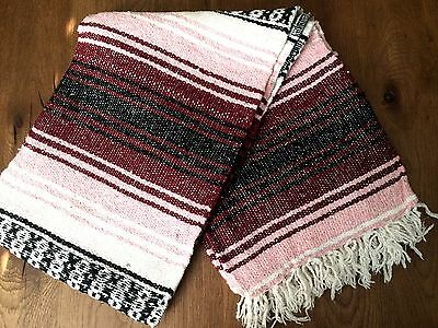 Mexican Falsa Throw Blanket * Yoga * Made in Mexico NEW - Pink/Maroon - Serape