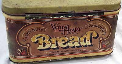 Vintage 1979 Hinged Wheat Heart Bread Tin Box