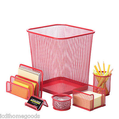 6 pc Steel Mesh Desk Set # OFC-04880 in Red